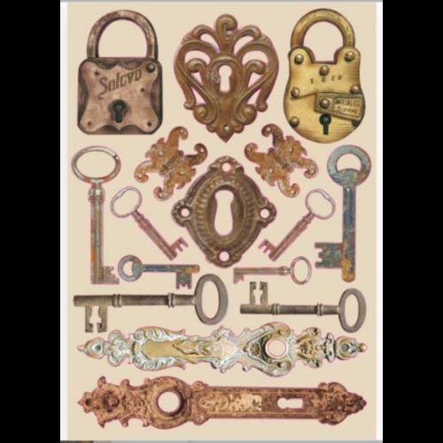 Fafigura, színes - A5 - Lady Vagabond - zárak és kulcsok