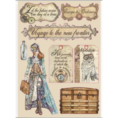 Fafigura, színes - A5 - Lady Vagabond - címkék