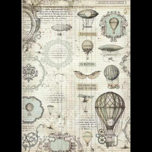 A3 Dekupázs rizspapír, csom.  - Voyages Fantastiques balloon