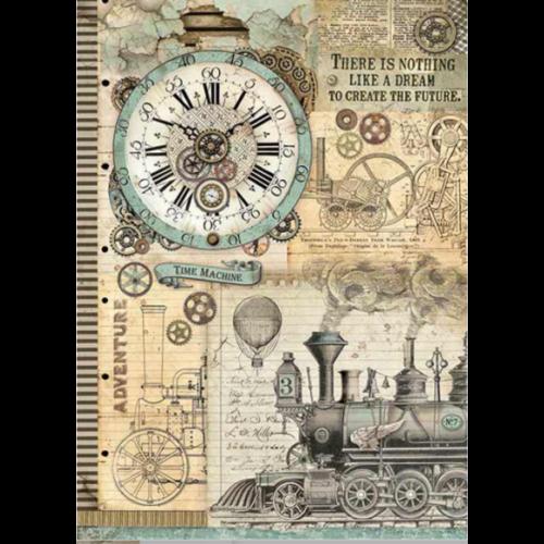 A3 Dekupázs rizspapír, csom.  - Voyages Fantastiques clock