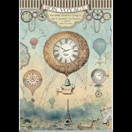 A4 Dekupázs rizspapír, csom.  - Voyages Fantastiques balloon