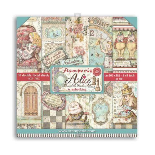 """Kis tömb 10 lap cm 20,3x20,3 (8""""x8"""") két oldalas Alice a tükörben"""
