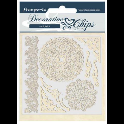 Decorative chips 14x14 cm - Passion laces and corners
