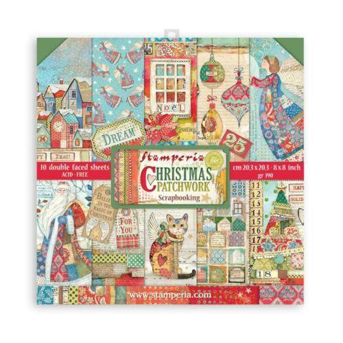 """Kis tömb 10 lap cm 20,3x20,3 (8""""x8"""") két oldalas - Karácsonyi Patchwork"""